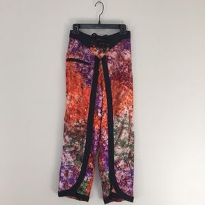 Tie dye high waisted tie front wide leg pants